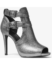 Michael Kors Blaze Metallic Leather Open-toe Bootie - Gray