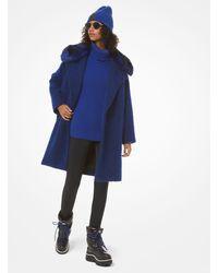Michael Kors Faux-fur Collar Bouclé Coat - Blue