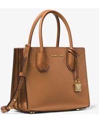 Michael Kors Mercer Medium Pebbled Leather Accordion Crossbody Bag - Brown