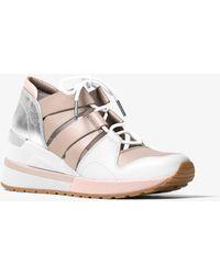 Michael Kors - Beckett Leather And Metallic Sneaker - Lyst