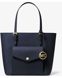 Michael Kors Jet Set Medium Saffiano Leather Pocket Tote Bag - Blue