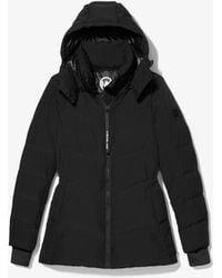 Michael Kors Metallic Quilted Chevron Packable Puffer Jacket - Black