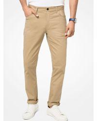 Michael Kors Parker Slim-fit Stretch-twill Pants - Natural