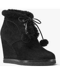 Michael Kors Chadwick Suede And Shearling Wedge Boot - Black