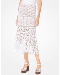 Michael Kors - Mixed Floral Lace Skirt - Lyst