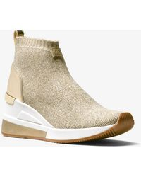 Michael Kors - Skyler Metallic Stretch-knit Sock Sneaker - Lyst