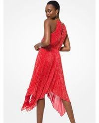 Michael Kors Metallic Star Georgette Halter Dress - Red