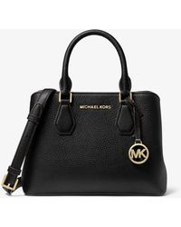 Michael Kors Mk Camille Small Pebbled Leather Satchel - Black