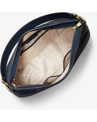 Michael Kors Mk Brooke Large Pebbled Leather Shoulder Bag - Blue