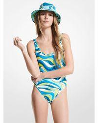 Michael Kors Wave Scoop-back Swimsuit - Blue