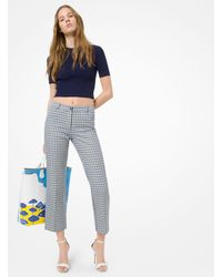 Michael Kors Tattersall Wool-and-cotton Jacquard Cropped Pants - Blue