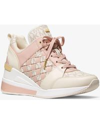 Michael Kors Georgie Logo And Leather Sneaker - Multicolor