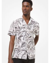 Michael Kors Palm Leaf Cotton Blend Short Sleeve Shirt - White