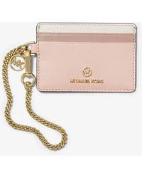 Michael Kors Small Color-block Crossgrain Leather Chain Card Case - Multicolour
