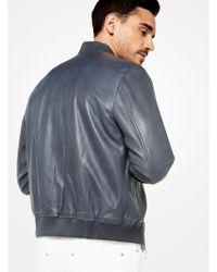 Michael Kors   Washed Leather Bomber Jacket   Lyst