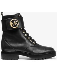 Michael Kors Tatum Black Leather Combat Boots