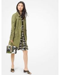 Michael Kors Butterfly Embroidered Lightweight Twill Cargo Jacket - Green