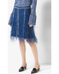 Michael Kors Feather-embroidered Denim Skirt - Blue