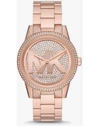 Michael Kors Orologio Ritz oversize tonalità oro rosa con logo e pavé - Metallizzato