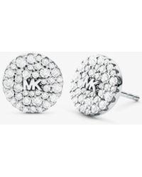 Michael Kors Orecchini a bottone in argento sterling con placcatura in metallo prezioso logo e pavé - Metallizzato