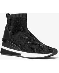 Michael Kors Skyler Embellished Stretch-knit Sock Sneaker - Black