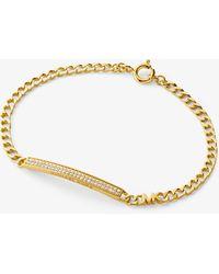 Michael Kors Precious Metal-plated Sterling Silver Pavé Plaque Curb Link Bracelet - Metallic