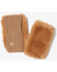Michael Kors Faux Fur Fingerless Gloves - Multicolor