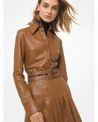 Michael Kors Plongé Leather Shirt - Brown
