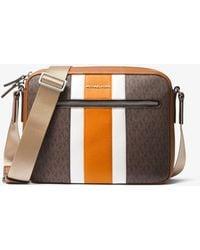 Michael Kors Hudson Logo Stripe Camera Bag - Brown