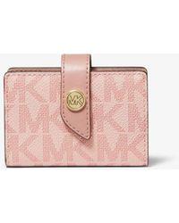 Michael Kors Kleine Brieftasche Aus Logostoff In Blockfarben - Pink