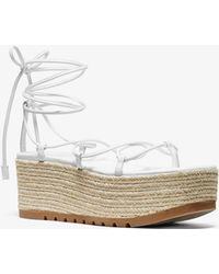 Michael Kors Mabal Leather Flatform Sandal - White