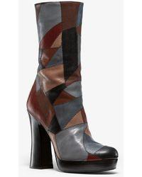 Michael Kors Emmy Patchwork Leather Platform Boot - Metallic