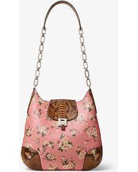Michael Kors Bancroft Oversized Floral Calf Leather And Python Shoulder Bag - Multicolour