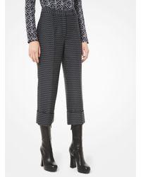 Michael Kors Deco Herringbone Wool Cuffed Pants - Grey