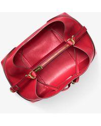 Michael Kors Michael Mercer Gallery Convertible Bucket Leather Shoulder Bag - Red