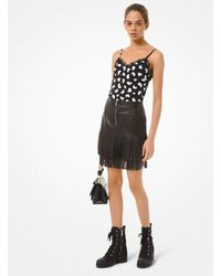 Michael Kors Fringed Leather Skirt - Black