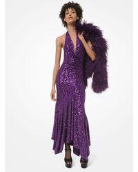Michael Kors Sequined Stretch Matte-jersey Handkerchief Dress - Purple