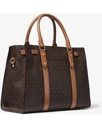 Michael Kors Grand sac porté main Nouveau Hamilton en cuir à logo - Marron