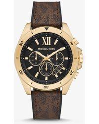 Michael Kors Übergroße Armbanduhr Brecken Im Goldton Mit Logoarmband - Braun