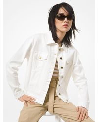 Michael Kors Denim Shrunken Boyfriend Jacket - White