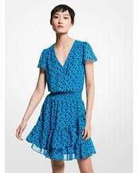 Michael Kors Floral Georgette Ruffled Wrap Dress - Blue