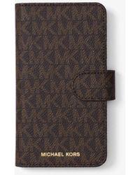Michael Kors Custodia Folio Per Iphone X Con Logo - Marrone