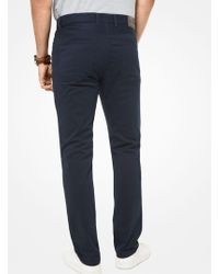 Michael Kors Mk Parker Slim-fit Stretch-twill Trousers - Blue