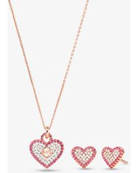 Michael Kors 14k Rose Gold-plated Sterling Silver Pavé Heart Necklace And Stud Earrings Gift Set - Metallic