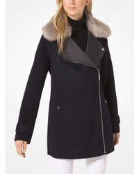 Michael Kors - Wool-blend And Faux Fur Coat - Lyst