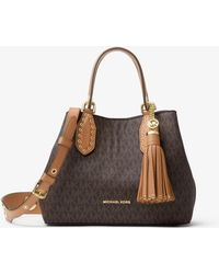 Michael Kors Bolso Satchel Brooklyn Pequeño Con Logotipo - Marrón