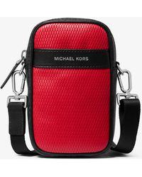 Michael Kors Greyson Color-block Leather And Logo Smartphone Crossbody Bag - Red