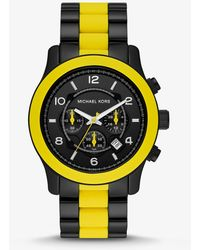 Michael Kors - Oversized Runway Black-tone And Silicone Watch - Lyst