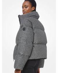Michael Kors Metallic Knit Puffer Jacket