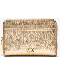 Michael Kors - Small Metallic Pebbled Leather Wallet - Lyst